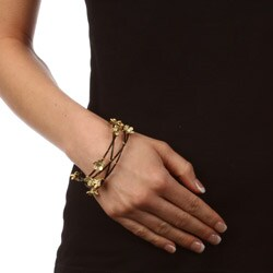 Celeste Stainless Steel Large Black Crystal Flower Bangle Bracelets (Set of 4)