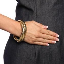 Celeste 18k Gold Overlay Interlocked Omega Stretch Bracelet - Thumbnail 2