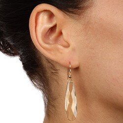 Zoe B 14k Yellow Gold Green Quartz Dangle Earrings