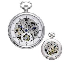 Thumbnail 3, Avalon 17-jewel Mechanical Skeleton Stainless Steel Pocket Watch with Chain. Changes active main hero.