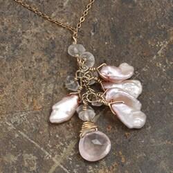 Rose Quartz and Keshi Pearl 14k Goldfill Necklace (6 mm) - Thumbnail 2