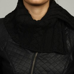 Black Rivet Women's Quilted Knit Trim Jacket - Thumbnail 2