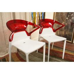 Swap White Plastic Modern Dining Chair with Red Backrest (Set of 2) - Thumbnail 2
