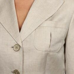 Calvin Klein Women's Khaki 3-button Jacket Pant Suit