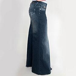 Tabeez Women's Medium Wash Long Denim Skirt