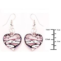 Murano-inspired Glass Purple and Clear Heart Earrings - Thumbnail 1