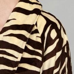 Women's Zebra Print Microluxe Bath Robe - Thumbnail 2