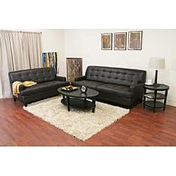 Adair Brown Leather Modern Sofa Set