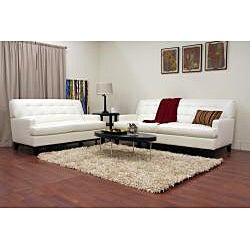 Adair White Leather Modern Sofa Set