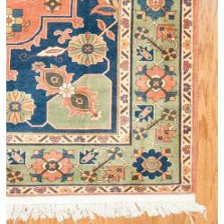 Afghani Hand-knotted Orange/ Green Oushak Wool Rug (7'3 x 9'4) - Thumbnail 2