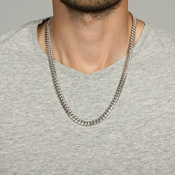 Platifina Platinum over Silver  24-inch Cuban Link Chain Necklace - Thumbnail 2