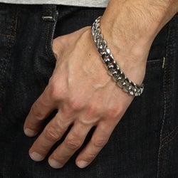 Platifina Platinum Over Silver 8 5 Inch Men S Cuban Link