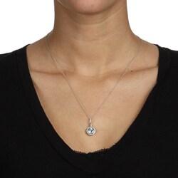10k White Gold Aquamarine and 1/6ct TDW Diamond Necklace (H-I, I1-I2) - Thumbnail 2