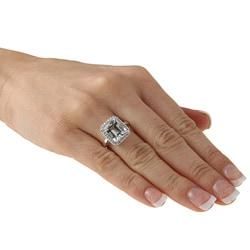 10k White Gold Aquamarine and 1/5ct TDW Diamond Ring (J-K, I1-I2) - Thumbnail 2