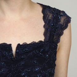 Marina Women's Lace Beaded Sequins Dress - Thumbnail 2