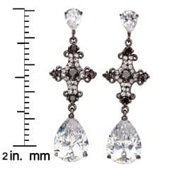 Silvertone Black and White Cubic Zirconia Earrings