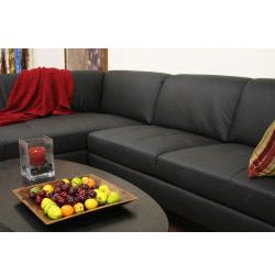 Godfrey Black Leather Modern Sectional Sofa - Thumbnail 2