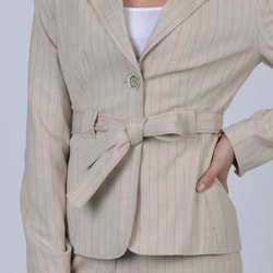 Signature by Larry Levine Women's Taupe Pinstripe Pant Suit