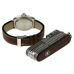Swiss Army Men's Officer's Watch and Rosewood SwissChamp Knife Gift Set
