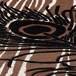 nuLOOM Handmade Moda Peacock New Zealand Wool Rug (7 '6 x 9 '6) - Thumbnail 2
