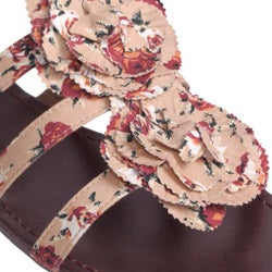 Journee Collection Women's 'Sprout-77' Floral Print Low Wedge Sandals - Thumbnail 2