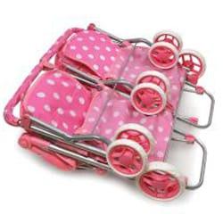 Badger Basket Pink Quad Deluxe Doll Stroller Free