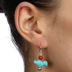 Southwest Moon Sterling Silver Turquoise and Red Coral Bird Earrings