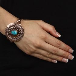 Southwest Moon Copper Turquoise Accent Cuff Bracelet - Thumbnail 2