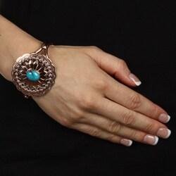 Southwest Moon Copper Turquoise Accent Cuff Bracelet