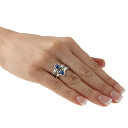 Southwest Moon Sterling Silver Lapis Stackable Rings (Set of 3) - Thumbnail 2