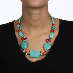 Crystale Silvertone Turquoise and Coral Cluster Necklace