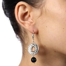 Lola's Jewelry Silvertone Onyx Radiant Sun Earrings - Thumbnail 2
