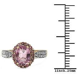 Malaika 10k Yellow Gold Pink Tourmaline and Diamond Accent Ring - Thumbnail 2