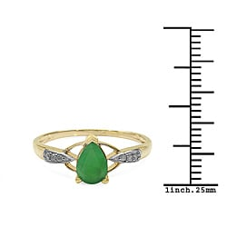 Malaika 10k Yellow Gold Emerald and Diamond Accent Ring - Thumbnail 2