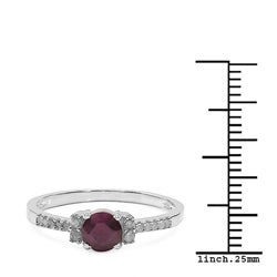 Malaika 10k White Gold Ruby and 1/8ct TDW Diamond Ring (J-K, I2-I3) - Thumbnail 2