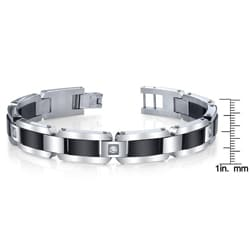 Stainless Steel and Black IP Men's Cubic Zirconia Bracelet - Thumbnail 2
