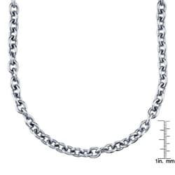 Stainless Steel 24-inch Rolo Link Necklace - Thumbnail 2