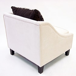 Retro-Modern Cream Fabric Chair - Thumbnail 2