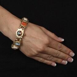 14k Yellow Gold Carved Cameo Antique Slide Bracelet - Thumbnail 2