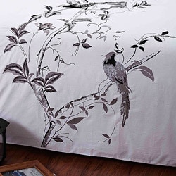 Nightingale Embroidered Queen-size 3-piece Duvet Cover Set - Thumbnail 2