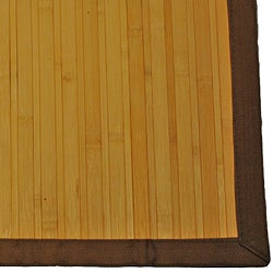 Asian Hand-woven Light Natural Stripe Bamboo Rug (2' x 3') - Thumbnail 2