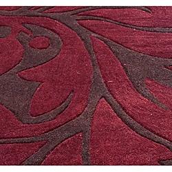 nuLOOM Handmade Pino Burgundy Floral Fantasy Rug (5' x 8') - Thumbnail 2