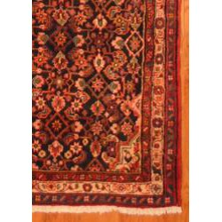 Persian Hand-knotted Navy/ Beige Hamadan Wool Rug (3'3 x 13'6) - Thumbnail 2