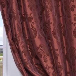 Exclusive Fabrics Flocked Renaissance Paprika Faux Silk 108-inch Curtain Panel - Thumbnail 2
