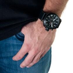 Republic Men's Leather Strap Black Bezel Watch