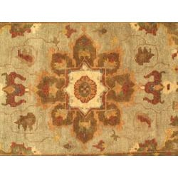 Hand-woven Mamluk Cream Wool Rug (5'6 x 8'6) - Thumbnail 2