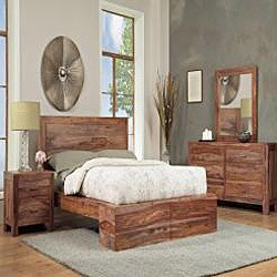 Sheesham Solid Wood California King-size Panel Bed - Thumbnail 2