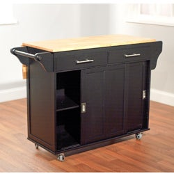 Simple Living Wooden Drop Leaf and Sliding Doors Kitchen Cart - Thumbnail 1