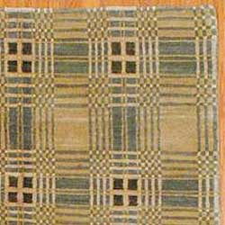 Tibetan Hand-knotted Beige/ Green Wool Rug (6' x 8'9) - Thumbnail 2