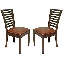 Aledo High-back Mahogany Leather Chairs (Set of 2) - Thumbnail 2